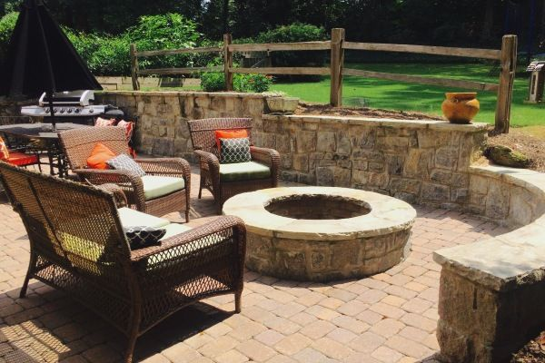 Backyard hardscape with firepit