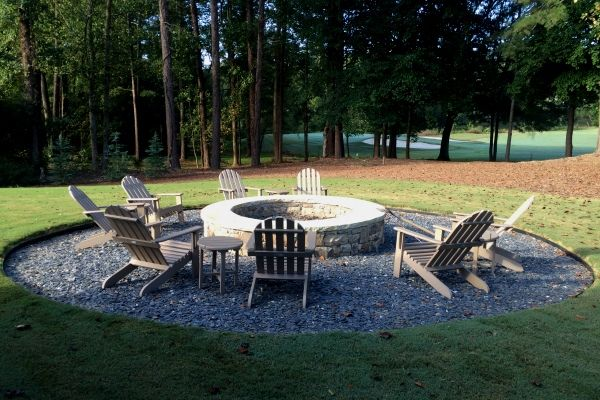 Sculpted firepit construction in golf community