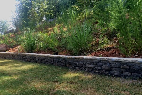 Retaining wall for sloped back yard with softscaping