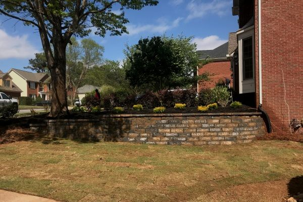 Block retaining wall construction with softscaping
